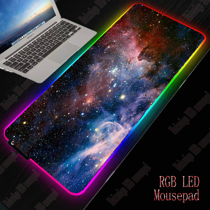 XGZ Nebula RGB Large Gaming Starry Mouse Pad Gamer Led Computer Pad Big  Mat With Backlight For Keyboard Desk