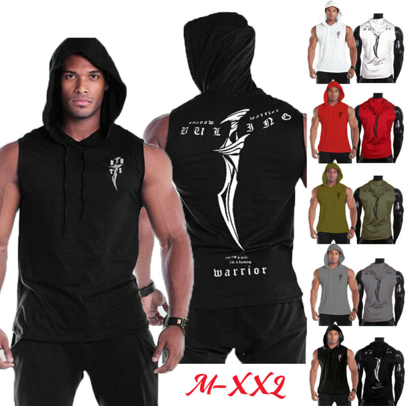 2019 Men Gym Clothing Bodybuilding Stringer Hoodie Top Muscle Hooded Sweatershirt Summer Men Sports Vest Hoody Clothes