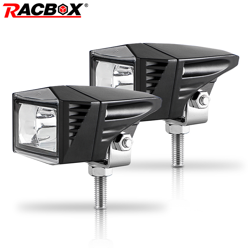 RACBOX Motocycle Headlight 6000K LED Working Spot Light Motorbike Fog Lamp 1500LM Moto LED Scooters ATV UTV Spotlight 12V 24V