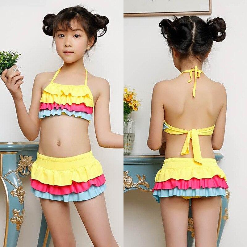 Girl'S Swimsuit Split Type Cute Children Sun-resistant Boxer Swim Bathing Suit Big Boy Baby Korean-style Princess Dress-Swimwear