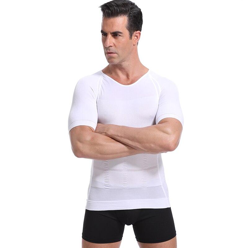 Classix Men Body Toning Shirt Tummy Belly Control Body Building Shirt Compression T-Shirt O-Neck Corrective Posture Under Shirt
