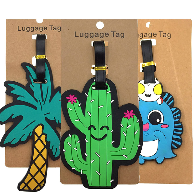 Creative Plant Coconut Tree Luggage Tags Silica Gel Travel Accessories Suitcase ID Addres Holder Baggage Boarding Portable Label