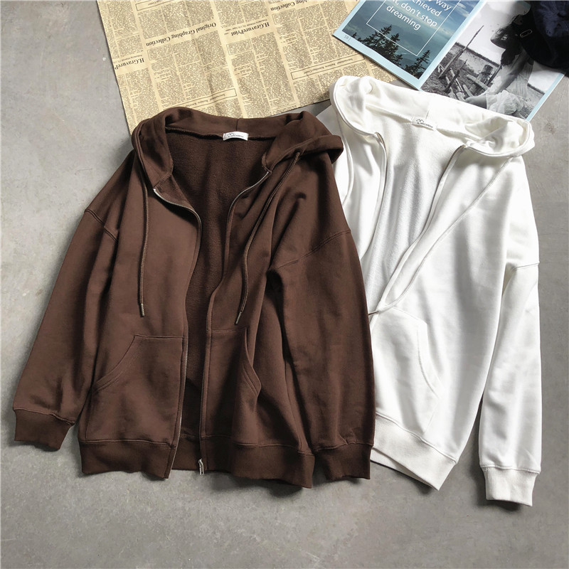 New Spring Autumn Casual Loose Cotton Weatshirts Women All-Match Solid Hooded Coats Long Sleeve Hoodies Drawstring Colthing M750