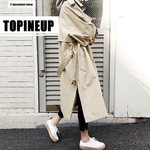 Korean Style Side Split Women's   Trench   Coat 2019 Autumn Winter Double Breasted Khaki Sahses Loose   Trench   Overcoat Windbreaker