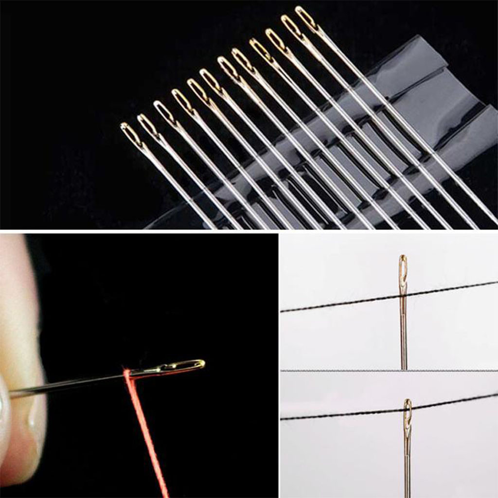 12PCS//set Sewing Needles Large Eye Self-Threading Embroidery Hand Sewing Needles