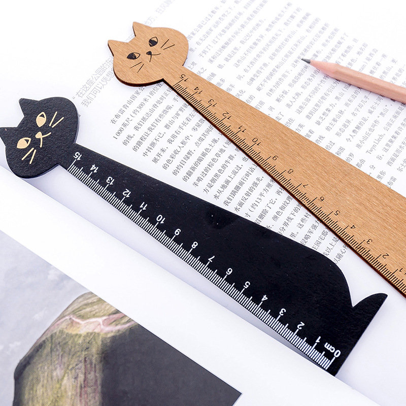 Kawaii Black Cat Ruler Creative 15cm Wooden Cute Office Stationery For Kid Gift Cartoon Student School Supplies