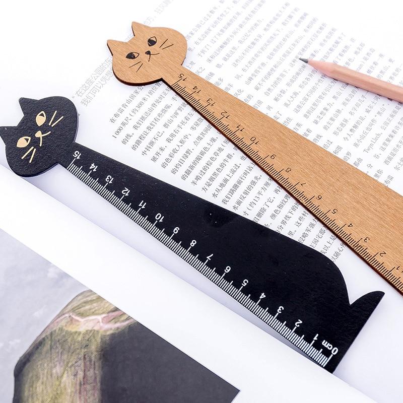 Kawaii Black Cat Ruler Creative 15cm Wooden Cute Office Stationery For Kid Gift Cartoon Student School Supplies