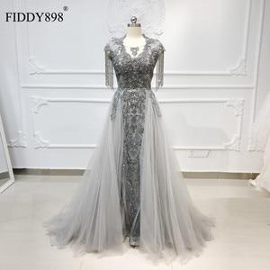 Image 1 - Luxury Evening Dresses Long Scoop Tassel Short Sleeve Beaded Evening Gown Tulle Grey Formal Evening Dress Vestido de Fiesta NE53