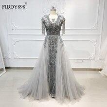 럭셔리 이브닝 드레스 긴 특종 술 짧은 소매 페르시 이브닝 가운 Tulle 그레이 정장 이브닝 드레스 Vestido de Fiesta NE53
