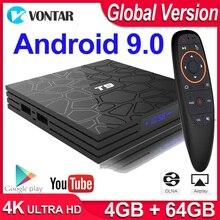 Global TVBOXทีวีสมาร์ทAndroid 9.0 TV BOX T9 4GB RAM 64GB/32GB ROM Rockchip 1080P H.265 Youtube Media Player 4Kชุดกล่องด้านบน