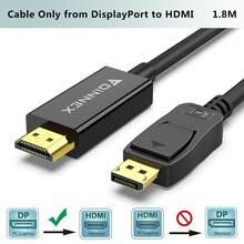 Foinnex displayport ao cabo de hdmi, dp 1.2 ao cabo do adaptador de hdmi 1.4, porto de exibição masculino dentro ao conversor hdmi para fora leva 1080p @ 60hz