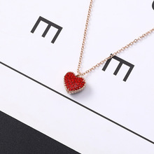 2019 Hot Sale Women Kolye Choker Collares Of Steel Necklace Rose Double Heart-shaped Chain Fashion Joker Clavicle Love