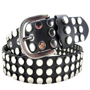 Image 5 - Punk style Big metal rivet belt women Round rivets Spike sequins belt punk Simple decorative waistband belt for men