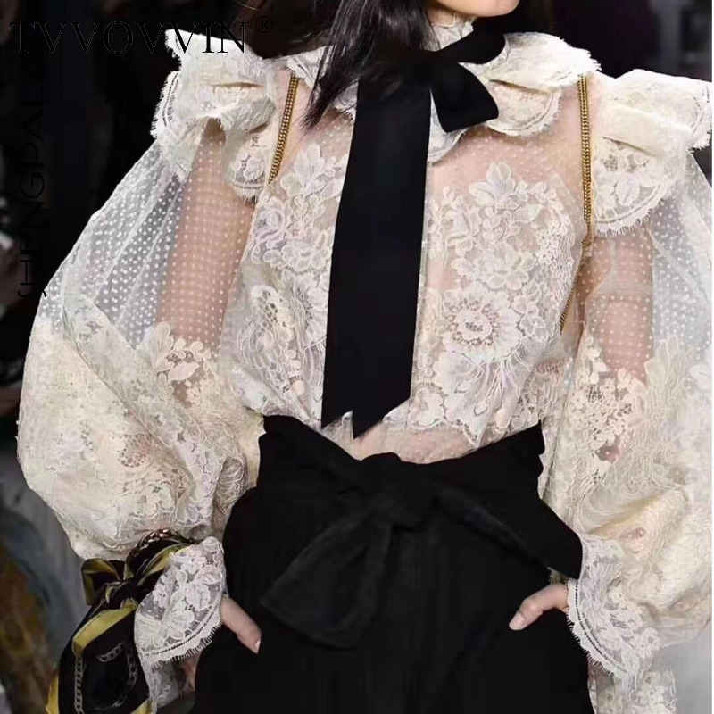 TVVOVVIN nouveau automne 2019 Style Vintage pleine lanterne manches dentelle Stand cou fronde maille dentelle évider femmes chemise F348