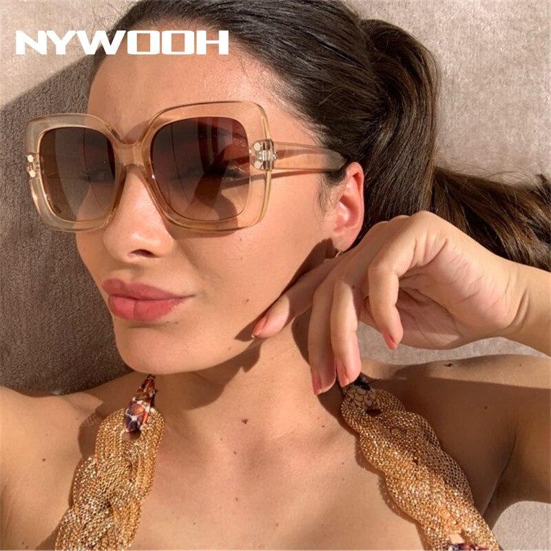 NYWOOH Oversized Sunglasses Women Luxury Transparent Gradient Sun Glasses Big Frame Vintage Eyewear UV400 Glasses For Lady
