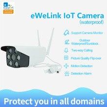 Ewelink câmera inteligente para iot, 1080p à prova d água ip66, wi fi, dois sentidos, visão noturna, ir led câmera fotográfica para câmera