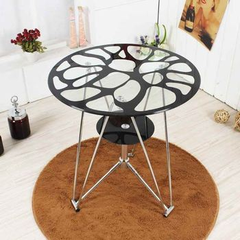 Tempered Glass Small Round Table Fashion Negotiation Table Coffee Table Simple Desk Balcony Leisure Tea Table Table Table Table