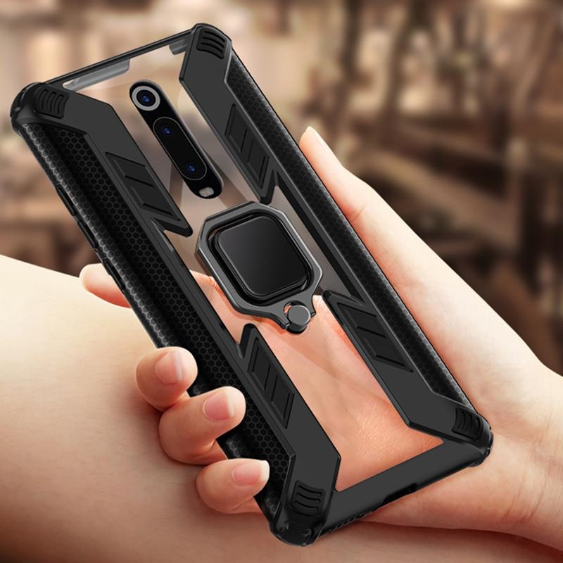 Shockproof Armor Case For Xiaomi Redmi K20 Pro Mi 9t 8 Mi9t Case Ring Holder Transparent Clear Cover For Redmi Note 7 8 Pro Case