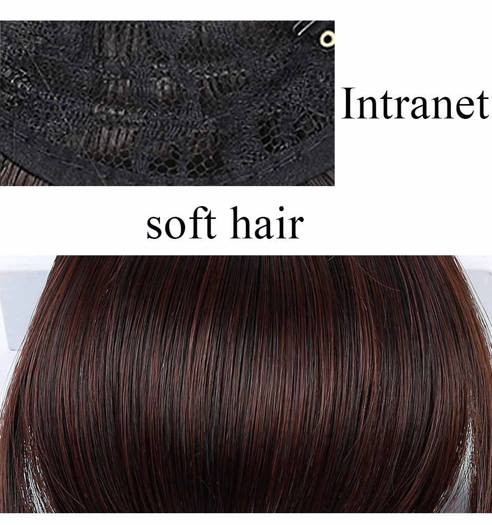 Recta Clip-en humanos contundente flequillo barrido lado flequillo pelo de delante flecos 100% cabello humano 1 pieza sólo negro marrón Rubio