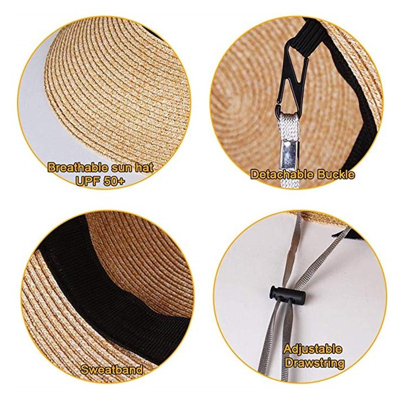 Womens Beach Sun Straw Hat UV UPF50 Travel Foldable Brim Summer UV Hat 3