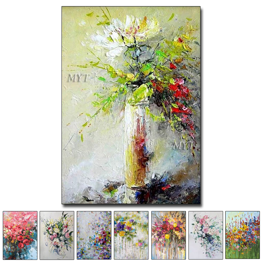 Texture Thick Vase Flower Handmade Oil Painting Canvas Wall Art Oil Paintings Canvas Knife Art Home Decoration Wall PicturesPainting & Calligraphy   -