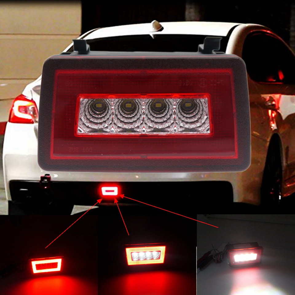 Red Lens 3-In-1 LED Rear Fog Light Kit For Subaru Impreza WRX/STi XV Crosstrek 11-19 Tail Lamp Brake Lamp Backup Reverse Light