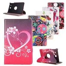 "Для samsung Galaxy Tab E 9,"" Чехол SM-T561 T560 чехол на 360 градусов Rotaing Stand розовое сердце цветок ремешок чехол из полиуретановой кожи для планшета"