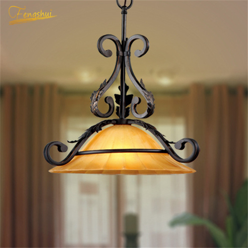 Nordic Creative Restaurant Lighting Retro Loft Industrial Single-head Glass Coffee Bar Lamp  Glass Chandeliers Lighting Fixtures