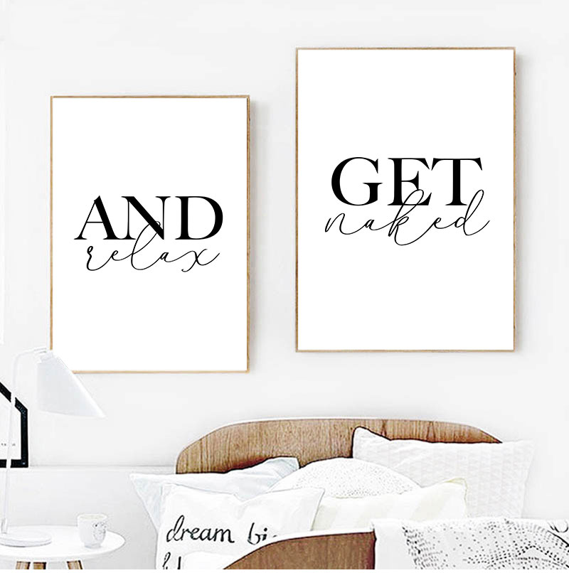 Get Naked and Relax Posters and Prints Toilet Life Quote Modular Wall Art Wall Pictures For Bathroom Modern Home Canvas Painting