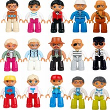 Legoing Duplo Set Grandparents Daddy Mom Waiter Farmer Nurse Character Model Duploed Legoings Children's Educational Blocks Toys(China)