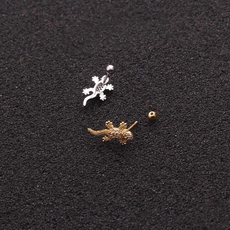 Feelgood 1 adet yeni gül altın rengi bitkiler ve hayvanlar Cz kıkırdak küpe 20g Helix Piercing takı kabuklu kale lob Tragus damızlık
