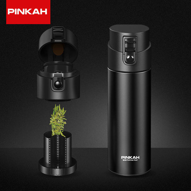 PINKAH 530ml Thermos Bottle With Tea Filter Vacuum Flask Sealed Leakproof Stainless Steel Milk Big Capacity Travel Insulated Cup