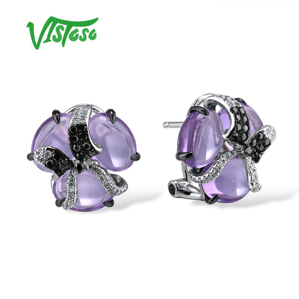 VISTOSO Gold Earring For Women Pure 14K 585 White Gold Shiny Diamond Black Diamond Limpid Amethyst Classic Earrings Fine Jewelry