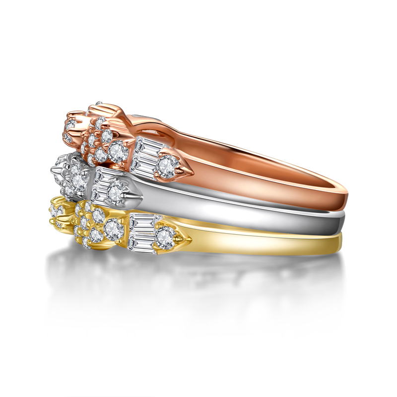 AINUOSHI mode 925 argent Sterling demi éternité bague de fiançailles ensembles simulé diamant mariage argent 3 pièces anneaux bijoux - 5