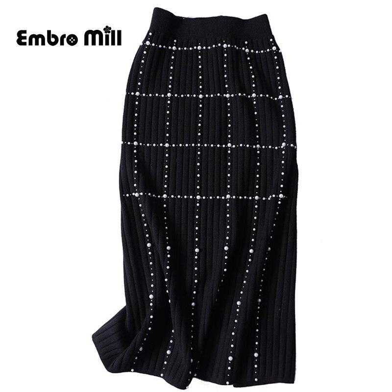 Automne noir tricot mode perle jupe Streetwear Style diamant en trois dimensions décoration perles femme jupe S-XL
