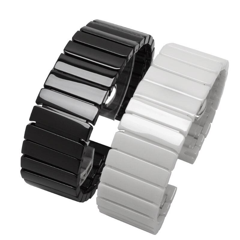 Керамический ремешок для часов 18 20 22 мм, черно-белый сменный ремешок для часов для мужчин и женщин, быстросъемный ремешок для часов