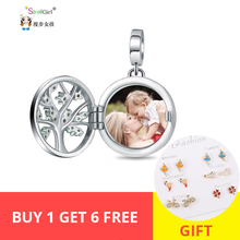 Strollgirl 925 Silver Engraved Unique Family Tree of Life Photo Locket Charms Fit DIY Beads bracelet&Necklace Custom Jewelry New chic engraved floral locket necklace