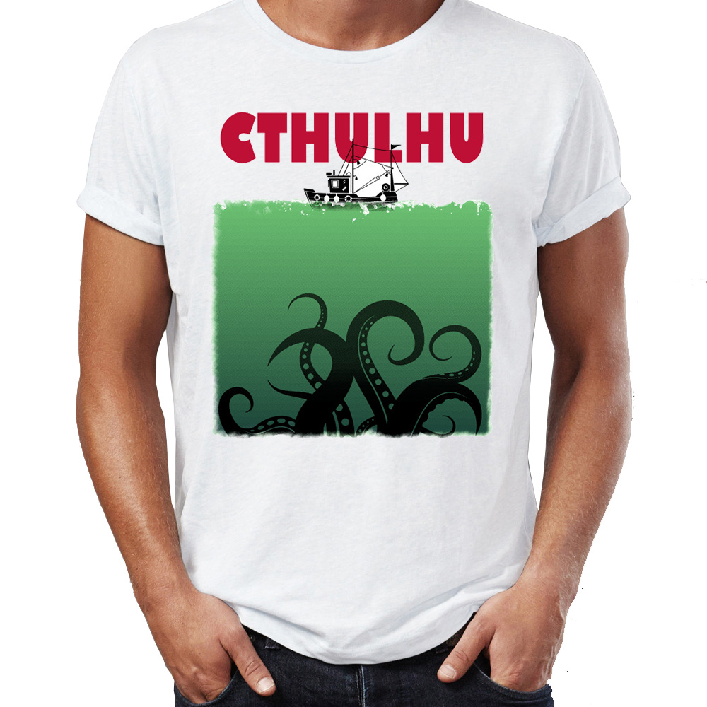 Brand New Men T <font><b>Shirts</b></font> 100% Cotton Lovecraft Cthulhu Jaw <font><b>Parody</b></font> Funny Horror Artsy Awesome Artwork Printed Tee <font><b>Shirts</b></font> Oversize image