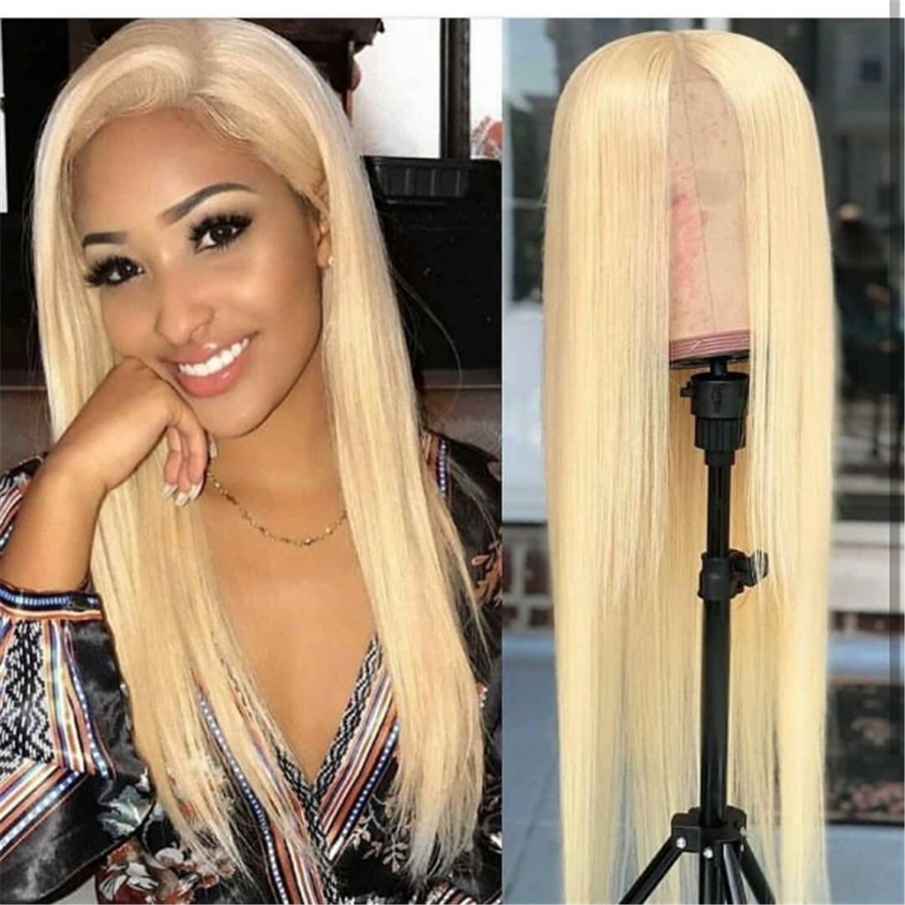 613 Blonde Glueless Lace Front Wig Human Hair With Baby Hair Silky Straight Full Lace Human Hair Wigs For Women Natural Hairline