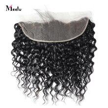 Perruque Lace Frontal Closure frontale-Meetu, cheveux non-remy brésiliens ondulés, 13x4, d'une oreille à l'autre, pre-plucked, avec Baby Hair, 100% cheveux naturels