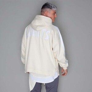 Image 4 - Hip Hop Mens Hooded Windbreaker Jacket Autumn 2019 Casual Vintage Color Block Loose Track Hoodie Jacket Coats Streetwear HipHop