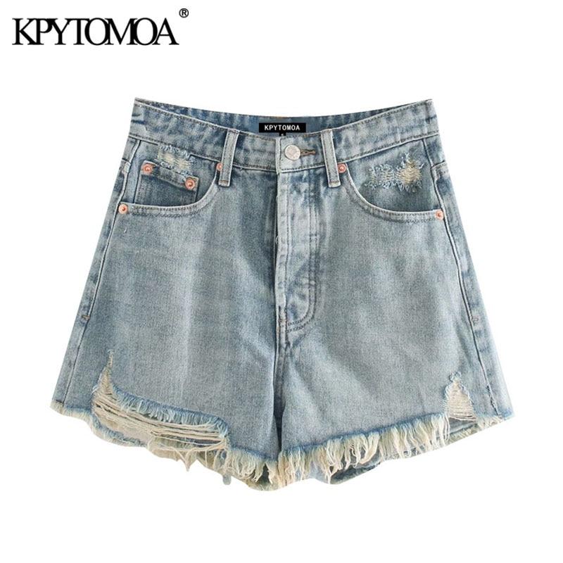 KPYTOMOA Women 2020 Chic Fashion Ripped Frayed Denim Shorts Vintage High Waist Zipper Fly Pockets Female Short Jeans Mujer