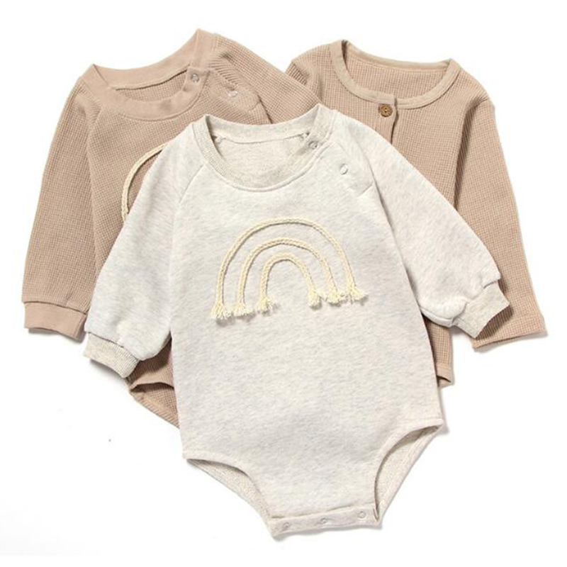 Spring Autumn Newborn Baby Girl Rompers Baby Girl Long Sleeve Pure Color Rompers Baby Boy Girl Rompers Clothes