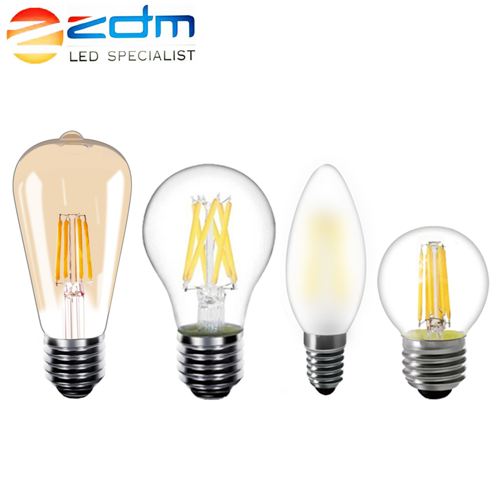 ZDM 6pcs/lot E14 LED Bulb E27 220V Retro Dimmable LED Lamp Candle Filament Light Bulbs ST64 A19 Vintage Warm White 2W 4W 6W