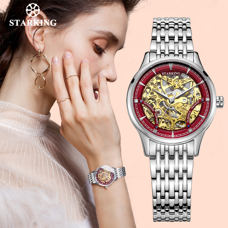 STARKING Watch Women Brand Luxury Automatic Ladies Watch Mechanical Gold Skeleton Female Watch Relogios Wrist Watch Ladies Gift