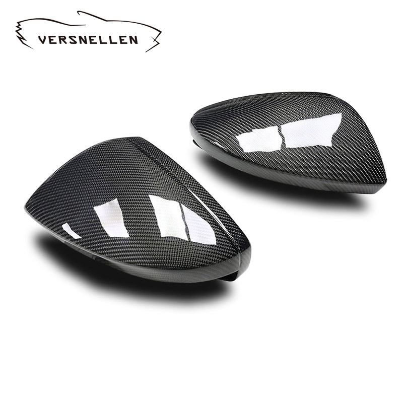 Carbon Fiber Mirror Covers Right & Left Side Caps for <font><b>2019</b></font> <font><b>Audi</b></font> C8 New <font><b>A6</b></font> A7 A8 Replacement With / Without Rear Side View Assist image