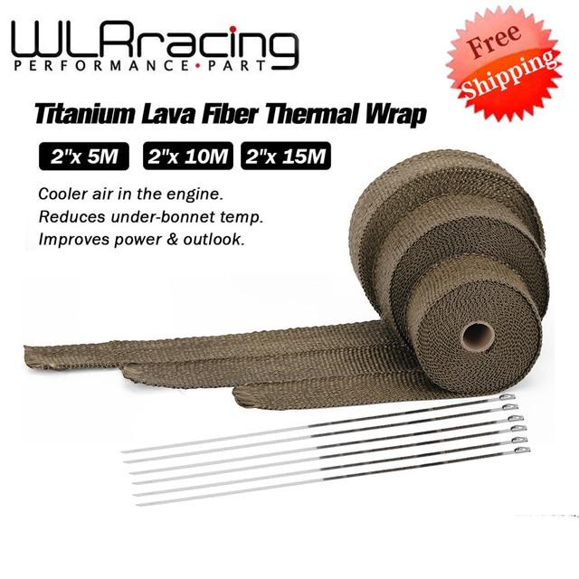 Rotolo di avvolgimento termico di scarico in titanio / nero di alta qualità 5cm * 5M 10M 15M per nastro scudo termico in fibra di vetro per moto con lacci in acciaio