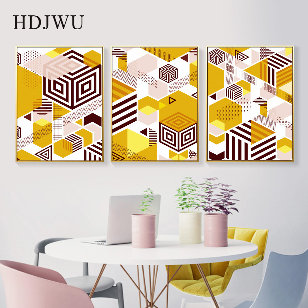 Nordic Abstract Canvas Painting Wall Picture Aimple Geometry Printing Poster for Living Room DJ645