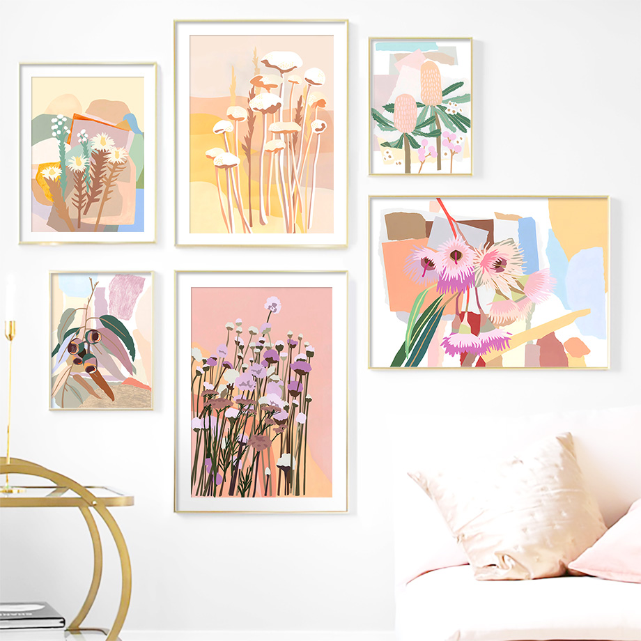 Abstract Leaves Collage Flower Nursery Wall Art Canvas Painting Nordic Posters And Prints Wall Pictures For Living Room Decor
