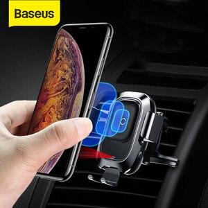 Image 1 - Baseus 10 ワットチー車のワイヤレス充電器サムスンS10 iphone xインテリジェント赤外線センサー高速ワイヤレス充電自動車電話ホルダー